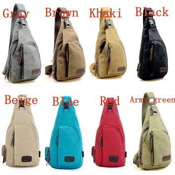 Men's Women's Small Canvas Sling Messenger Chest Bag Backpack Shoulder Travel Bag Fanny = 1704243012
