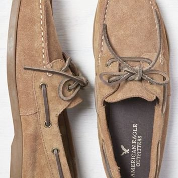 AEO Men's Suede Boat Shoe (Tan)