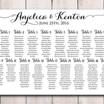 "Wedding Seating Chart Printable - Wedding Seating Sign ""Modern Calligraphy"" Wedding Reception - Seating Chart Poster Printable - DIY Wedding"