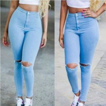 Pure Color High Waist Hole Ripped Knee Pencil Jeans