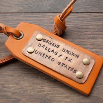 Leather Luggage Tags, Personalized Hand made Luggage Tags, Perfect Gift for Holiday, Birthday, Wedding or Anniversary