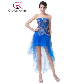 Grace Karin Peacock Prom Dresses Short Front Long Back Turquoise Blue Party Gown Sexy High Low Special Occasion Dress 2018