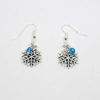 Christmas / Winter /  Snowflake Earrings/  Frozen Earrings/Silver Snowflake Earrings with blue crystal beads  .925 Sterling Silver hooks