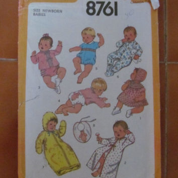 SALE 1977 Simplicity NewBorn Infant Sewing Pattern, 8761!  Size One Fits All, Dress and Bonnet, Kimono, Sacque, Panties.