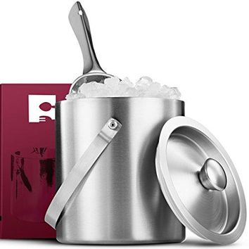 FineDine Brushed Stainless Steel DoubleWalled Ice Bucket with Lid Compact HeavyDuty Metal Ice Bucket with Handle and Wide Tapered Scoop for Half Gallon of Ice and Chilling Wine and Liquor Bottles