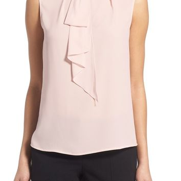Vince Camuto Ruffle Tie Neck Sleeveless Blouse (Regular & Petite) | Nordstrom