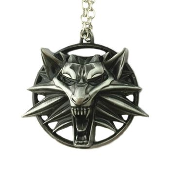 Witcher Wolf Necklace Pendant Video Games Logo Cosplay by Athena Brands
