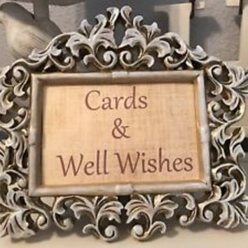 Rustic Gold White Wash Wedding Wishes Sign Photo Frame