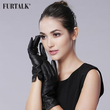 FURTALK Cashmere Lining Texting Driving Winter Warm Nappa Leather Gloves Leather Glove