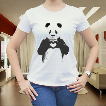 Panda all you need is love for women t shirt men t shirt tshirt cotton clothing