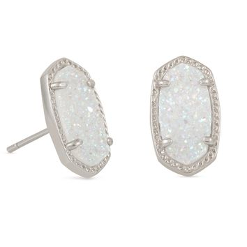 Kendra Scott Ellie Iridescent Drusy Silver Earrings