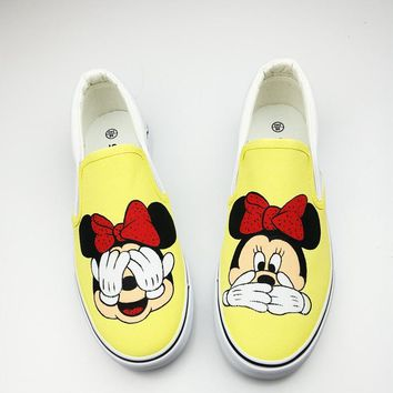 Women Shoes Summer Flat Hand-Painted Canvas Shoes Girl Matching Casual Board Shoes