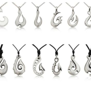 Maori Fishing Hook Silver Pewter Charm Necklace Pendant Jewelry