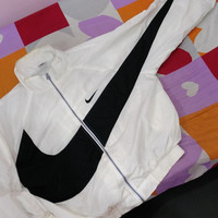 RARE Vintage NIKE AIR Swoosh big logo 90s  Windbreaker White Hip hop Swag Bomber trainer track Jacket