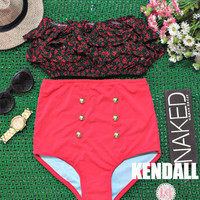 Kendall - Retro Vintage Pin Up Handmade Red Black Floral Ruffled Bandeau High Waist Bikini Swimsuit Swimwear