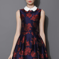 Pearly Collar Red Blooming Rose Skater Dress  Blue