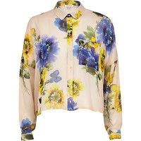 River Island Womens Cream floral boxy cropped shirt