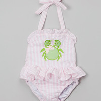 Pink Crab Seersucker One-Piece - Toddler & Girls