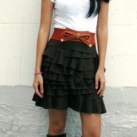 Modern Layered Cowgirl Country Skirt with Ruffles  by IslaNewYork