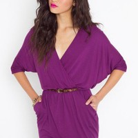Draped Across Dress - Plum - NASTY GAL