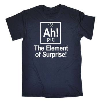 123t USA Men's Ah The Element Of Surprise Funny T-Shirt