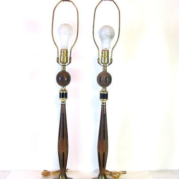 STOREWIDE SALE... Vintage Mid Century pair of tall and skinny side table lamps with black and brown modern teak wood