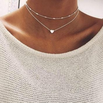Chain Necklaces Love Heart Choker Necklace for Women Multi Layer Beads Necklaces
