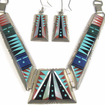 Vintage Navajo Inlay Necklace Earrings Jewelry Set Chester Benally