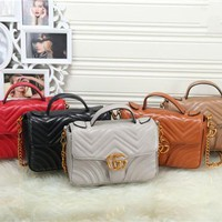 """Gucci"" Fashion Classic Double G Wave Stripe Metal Chain Single Shoulder Messenger Bag Women Flip Handbag"