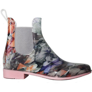NoSox Myst - Pink Floral Gloss PVC Pull-On Rain Boot
