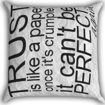 trust is like a paper Zippered Pillows  Covers 16x16, 18x18, 20x20 Inches