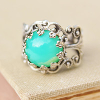 Vintage Green Opal Ring,Minty Green Glass Opal,Silver Filigree STURDY Adjustable Ring,Crown Setting,Boho,Everyday,Opal Jewelry,Birthstone
