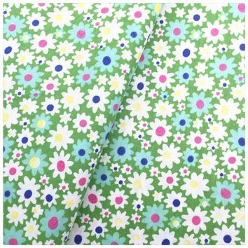 Green Flower 100% Cotton Fabric For DIY Sewing Fat Quarter Quilting Patchwork Tissue Tilda Doll Cloth Kids Dress Bedding Textile