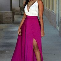 Contrast  Deep V Neck Ruched  Slit Maxi Skirt