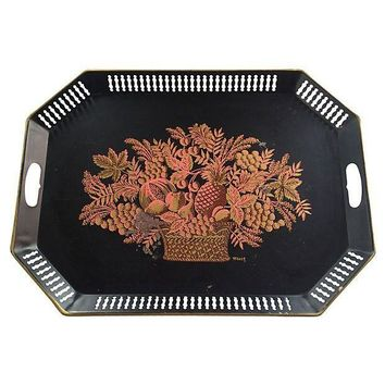 Pre-owned Hand-Painted Tole Tray