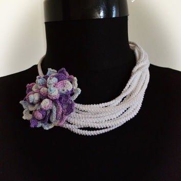 Bridal statement necklace,Wedding necklace,Knit necklace,Floral necklace,Flower necklace,White necklace,Unique necklaces for women,Gift