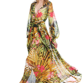 Tropical Print Mesh V-neck Long Sleeve Maxi Dress