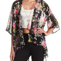 Sheer Floral Print Kimono Top by Charlotte Russe - Blush Combo