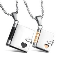 """Stainless Steel Couples """"Love Story"""" Book Pendants His & Her Necklace Set 22"""" Chain Engravable: Jewelry: Amazon.com"""