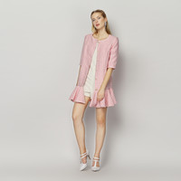 Pink Houndstooth Long Sleeve Button Down Fishtail Mini Dress