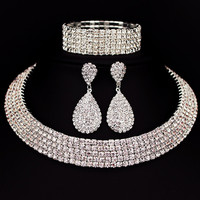 Bride Classic Rhinestone Crystal Choker Necklace Earrings and Bracelet Wedding Jewelry Sets Wedding Accessories X164