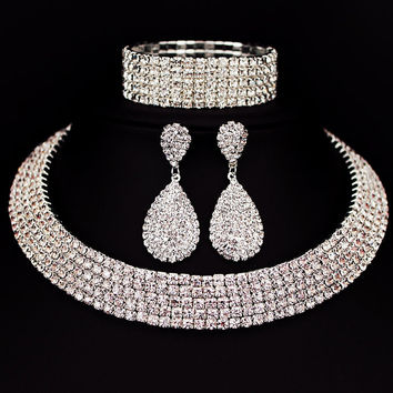 Bride Classic Rhinestone Crystal Choker Necklace Earrings and Bracelet  Wedding Jewelry Sets Wedding Accessories X164 039c28dae