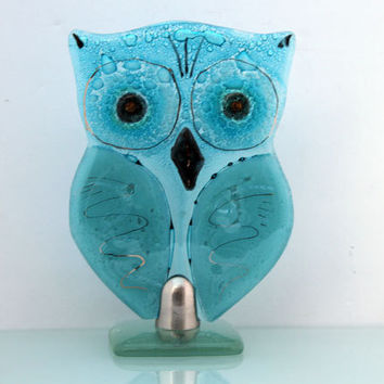 fused glass Standing owl  Sculpture, Aqua teal blue  Housewarming Gift