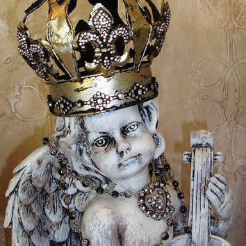 Shabby Chic Cherub Santos Crown French Nordic Religious Statuary Angel Wings Steampunk Chateau Chic Chalk Paint Fleur de lis