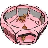 "Pink OxGord 45"" Pet Dog Cat Play Pen Tent Portable Exercise Fence Kennel Cage Crate"