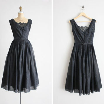 1950s silk dress / silk organza dress / black silk by allencompany