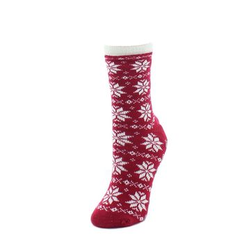 Holiday Snowflake Fuzzy Lined Crew Socks