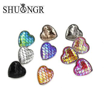 SHUANGR 1Pair Handmade Drusy Resin Beads Heart Earrings Mermaid Fish Scale Dragon Pattern Fashion Trendy Earrings For Woman
