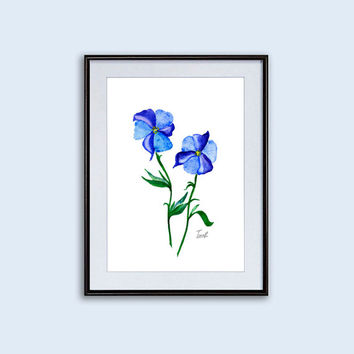 Posters blue flower contemporary art paintings wall art decor kitchen wall art botanical prints fine art printing watercolor paintings