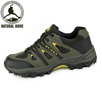 NaturalHome Outdoor Professional Hiking Shoes Men Women Leather Skid Waterproof Hiking Shoes Climbing Shoe Boots